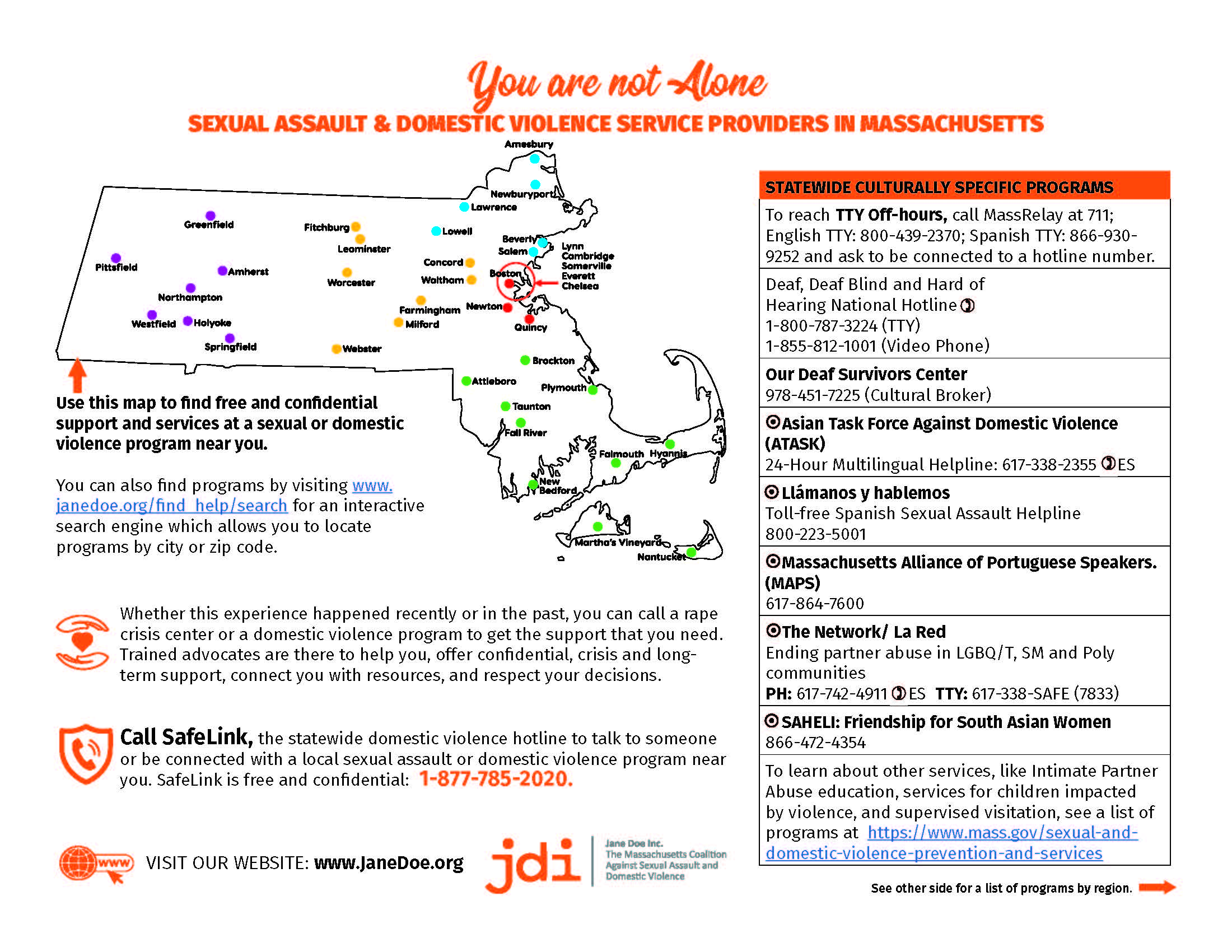 Image of JDI Map of services in Massachusetts
