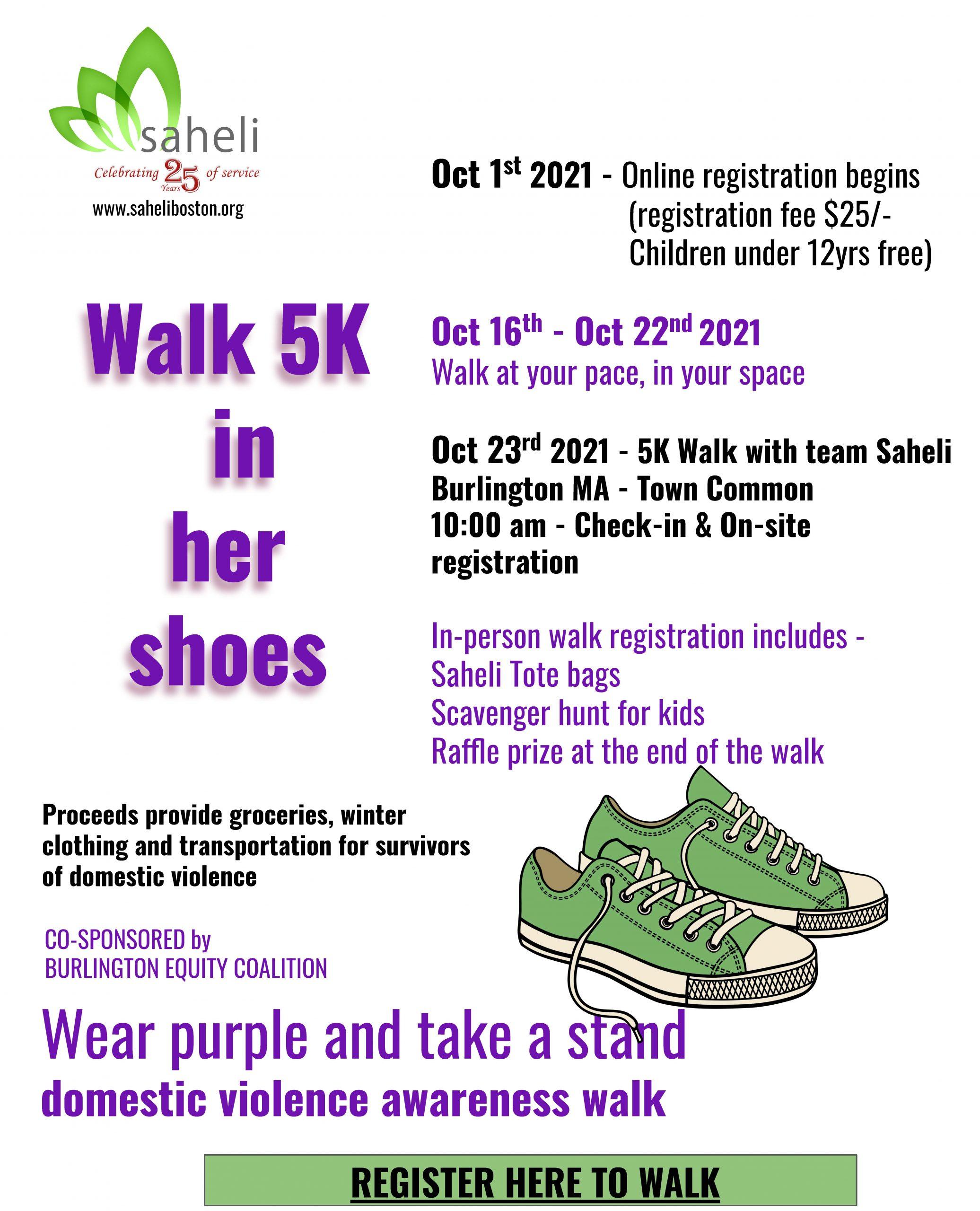 Walk 5K with Saheli flyer